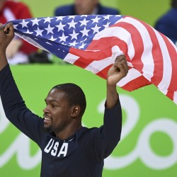 Kevin Durant of the United States celebrates his team's gold-medal win over Serbia in the men's basketball final of the Rio Games Sunday at Carioca Arena 1 in Rio de Janeiro, Brazil.