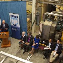 Sen. Angus King speaks at the Process Development Lab at the University of Maine in Orono, July 29, 2016.