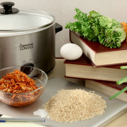 The ingredients for a slow cooker bibimbap are easy to come by: chili sauce, vegetables, kimchee and an egg.