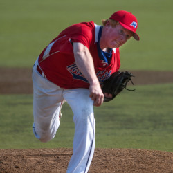 Jackson Coutts pitches in a Zone 1 American Legion baseball playoff game at Husson University in Bangor in 2014.