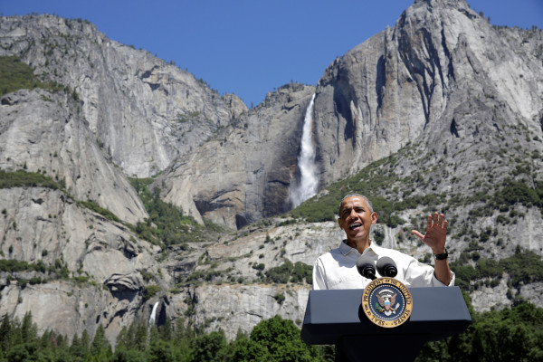 President Barack Obama speaks  about the National Park Service at Yosemite National Park, California, June 18, 2016.