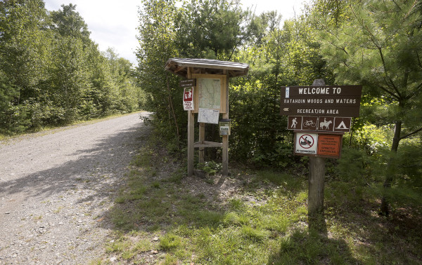 The north entrance to the former Eliotsville Plantation Inc. land that was designated by President Barack Obama as the new Katahdin Woods and Waters National Monument can be seen Wednesday morning.