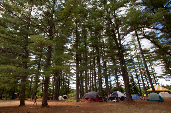 Tents are pitched under the trees at Maine Fiddle Camp in Montville.