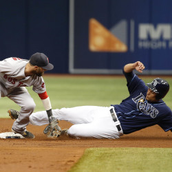 Tampa Bay's Luke Maile slides safely into second base as  Boston Red Sox second baseman Dustin Pedroia drops the ball during the third inning Thursday at Tropicana Field in St. Petersburg, Fla.