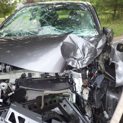 The 2013 Nissan Versa, owned by Eric Finnerty, 26, of Milton, Massachusetts, was demolished Thursday, when it left Harpswell Neck Road and struck a tree. Finnerty suffered serious leg injuries.