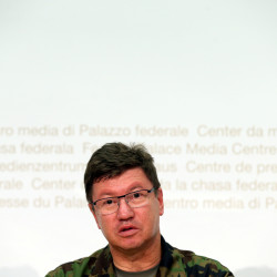 Commander of the Swiss Air Force Lieutenant General Aldo Schellenberg talks to the media during a news conference in Bern, Switzerland, Aug. 29, 2016.