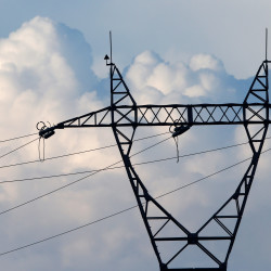 Electricity pylons of high-tension electricity power lines