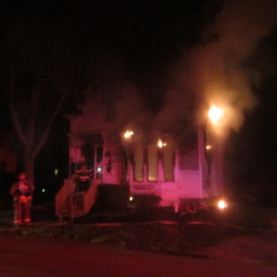 Rockland firefighters fought a blaze that destroyed a house at 29 James St. in Rockland on Tuesday night.