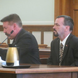 Kenneth L. Hatch III (right) pleads not guilty on Aug. 23 in Knox County Unified Court to 22 counts involving sexual assaults and drug-related offenses. He is represented by attorney Richard Elliott of Boothbay Harbor.