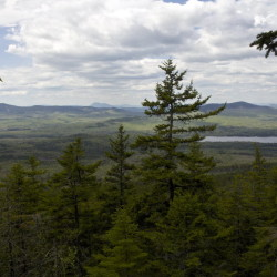 An outlook on the Appalachian Trail near the top of Moxie Bald Mountain gives hikers a glimpse of nearby mountains on May 21, 2015, in Bald Mountain Township T2 R3.