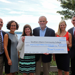 The Boyne Foundation has donated more than $500,000 to the SMCC Foundation to establish an endowed scholarship fund that will benefit students in SMCC's Nursing program. From left are SMCC Nursing program Chair Michael Nozdrovicky; SMCC Foundation Executive Director Joan Cohen; Jen Boyne McDonough; John Boyne; Sarah Boyne Marxhausen; and SMCC President Ron Cantor.