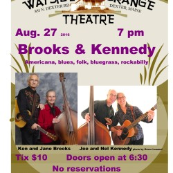 Ken & Jane Brooks with Joe & Nel Kennedy play on Sat. Aug. 27 at 7 pm at Dexter Wayside Theatre.  Tix $10