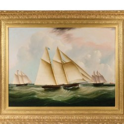 "James Edward Buttersworth's ""The Start of the Great Transatlantic Yacht Race"", one of many fine works of marine art to be sold at Thomaston Place Auction Galleries on August 27, 28 & 29"