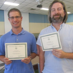 Recognized for five years of service to UMM were Uriah Anderson, assistant professor of psychology and Garret Lee, lecturer of education. Absent from the photo were Karen Beeftink and Paul Hanscom.