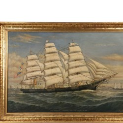 "Percy Sanborn's oil on canvas portrait of the Ship ""P.R. Hazeltine"", built at Belfast, ME, 1876, one of many fine marine paintings to be sold at Thomaston Place Auction Galleries Summer Fine Art & Antique Auction on August 27, 28 & 29"