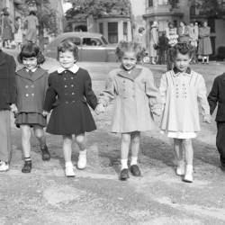 Six kindergarten pupils were photographed in September 1951 at St. Mary's parochial school and all seem happy to return after a long summer of play. They are (left to right) Kevin Vickers, Betty-Jo Rogan, Mary-Lu Gibbons, Mary Ann Hessert, Charlene Harris and Ronald Spears.