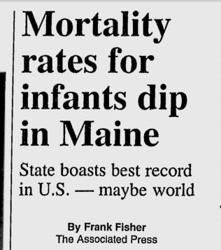 A headline that appeared in the Bangor Daily News in December 1998.