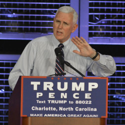 Republican vice presidential candidate Mike Pence speaks about trade and the economy at a private event at Charlotte Pipe and Foundry Wednesday morning, Aug. 24, in Charlotte, North Carolina.