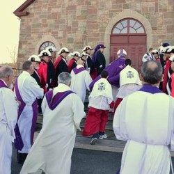 The procession toward opening the holy door at St. Luce Church in Frenchville in December 2015. There will be a pilgrimage to close the door as part of the Jubilee Year of Mercy ceremonies on Sept. 11.