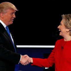 Republican presidential nominee Donald Trump and Democratic presidential nominee Hillary Clinton shake hands at the end of their first presidential debate at Hofstra University in Hempstead, New York, Sept. 26, 2016.