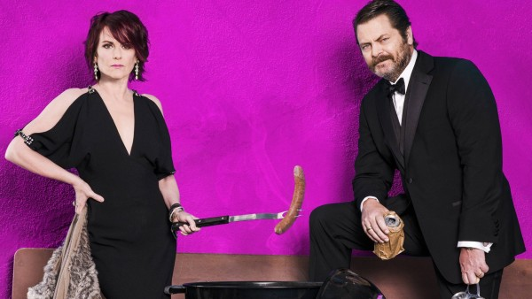 Promotional photo from Nick Offerman and Megan Mullally's Summer of 69: No Apostrophe tour.