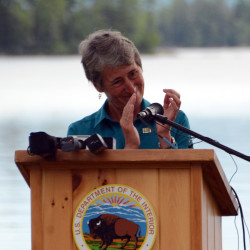 Secretary of the Interior Sally Jewell speaks during  a public celebration and dedication ceremony for the Katahdin Woods and Waters National Monument at New England Outdoor Center on Sunday.