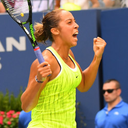 Madison Keys of the United States reacts after beating Naomi Osaka of Japan on day five of the U.S. Open tennis tournament Friday at USTA Billie Jean King National Tennis Center.
