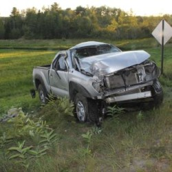 Two men died and a third was critically injured when the 2010 Toyota Tacoma they were riding in struck a utility pole and rolled several times in Prospect early Saturday evening,