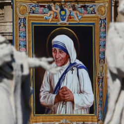 A tapestry depicting Mother Teresa is seen in Saint Peter's Basilica in the Vatican, Sept. 4, 2016.