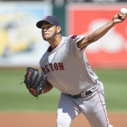 Boston Red Sox starting pitcher Eduardo Rodriguez delivers a pitch during the first inning against the Oakland Athletics Sunday at Oakland Coliseum.