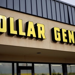 The sign outside the Dollar General store in Westminster, Colorado, is pictured in this Dec. 4, 2014, file photo.