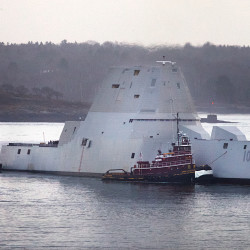 The future USS Zumwalt can be seen in Portland in this December 2015 file photo.