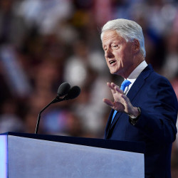 President Bill Clinton speaks during the second day of the Democratic National Convention, July 26, 2016, at the Wells Fargo Center in Philadelphia.