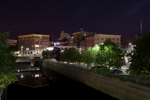 Downtown Bangor at night.