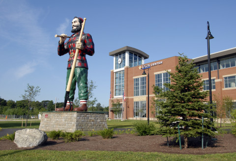 Paul Bunyan statue stands near the entrance of the Cross Insurance Center in Bangor.