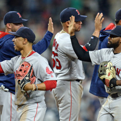 San Diego, CA, USA; The Boston Red Sox celebrate a 5-1 win over the San Diego Padres at Petco Park.
