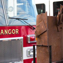 A piece of a steel beam that once was part of the World Trade Center can be seen Wednesday at the Central Fire Station in Bangor.