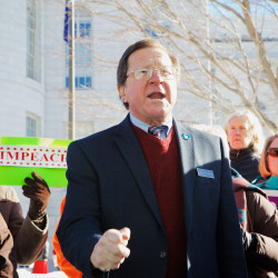 Rep. Jeff Evangelos, I-Friendship, speaks at a rally calling for the impeachment of Gov. Paul LePage on Jan. 6 outside the State House in Augusta.