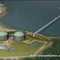 A photo illustration of the Downeast LNG facility as proposed for Robbinston in 2005.
