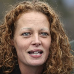 Nurse Kaci Hickox speaks with the media next to her boyfriend Ted Wilbur (not pictured) outside their home in Fort Kent, Maine, Oct. 31, 2014.