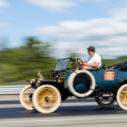 "Matt Foye of Plympton, Massachusetts, drag races his 1913 Model T Ford Touring on Friday at the Winterport Dragway. The Model T Ford Club of America's Down East Chapter rolled into the dragway ready to race as part of its ""Mainely T Tour."" Foye's Model T was a birthday present to his grandfather years ago and has been in the family ever since."