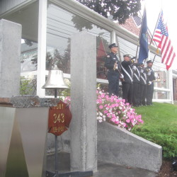 A piece of steel from the World Trade Center that was added recently to the Rockland Fire Department's memorial to the Sept. 11 terrorist attacks can be seen during a ceremony on Sunday in Rockland.