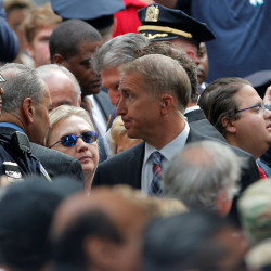 Democratic presidential candidate Hillary Clinton attends ceremonies to mark the 15th anniversary of the September 11 attacks at the National 9-11 Memorial in New York on Sunday.
