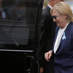 Democratic presidential candidate Hillary Clinton climbs into her van outside her daughter Chelsea's home in New York.