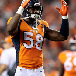 Denver Broncos outside linebacker Von Miller (58) reacts after a play in the second quarter against the Los Angeles Rams at Sports Authority Field, Aug. 27, 2016.