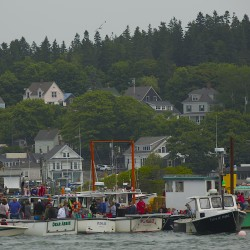 Lobster boats are seen moored in Stonington, July 13, 2014.