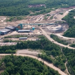 The Caribou Mine and Mill in the Bathurst mining district of New Brunswick, Canada. A former zinc mine that closed in 2008, the complex began new production in 2016 to mine and process copper, gold, lead, silver and zinc.