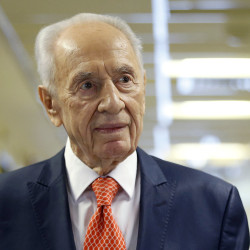 Former Israeli President Shimon Peres delivers a statement to the media as he is discharged from a hospital near Tel Aviv, Jan. 19, 2016.