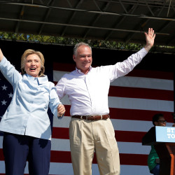 U.S. Democratic presidential candidate Hillary Clinton (left) is joined by her running mate, vice-presidential candidate and U.S. Sen. Tim Kaine, during a campaign stop at the 11th Congressional District Labor Day Parade and Festival in Cleveland, Ohio, on Sept. 5.