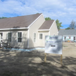 Two houses have been built by volunteers as part of a building blitz spearheaded by Midcoast Habitat for Humanity on Brewster Street in Rockland.
